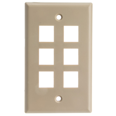 Keystone Wall Plate, Beige, 6 Port, Single Gang - Part Number: 301-6K