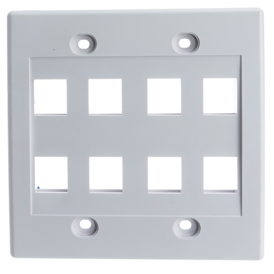 Keystone Wall Plate, White, 8 Port, Dual Gang - Part Number: 301-8K-W