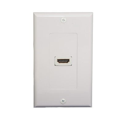 Wall Plate, White, Single HDMI Port with Strain Relief, HDMI Female - Part Number: 301-HD001