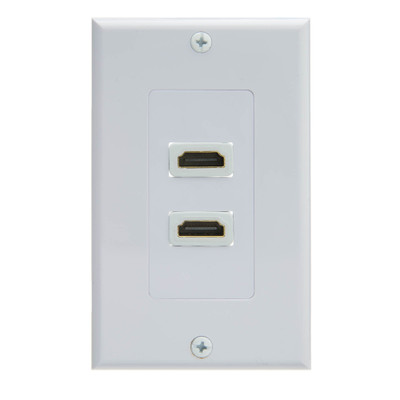 Dual Port HDMI Wall Plate with Strain Relief, White - Part Number: 301-HD002