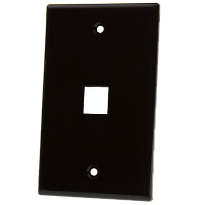 Keystone Wall Plate, Black, 1 Port, Single Gang - Part Number: 3012-02201