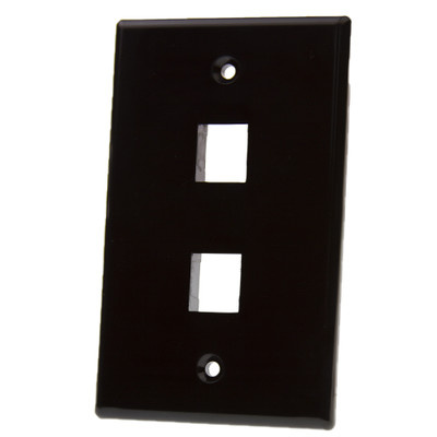Keystone Wall Plate, Black, 2 Port, Single Gang - Part Number: 3012-02202