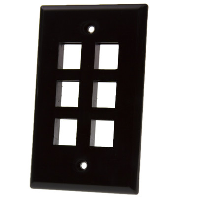 Keystone Wall Plate, Black, 6 Port, Single Gang - Part Number: 3012-02206