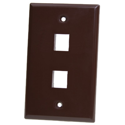 Keystone Wall Plate, Brown, 2 Port, Single Gang - Part Number: 3012-03202