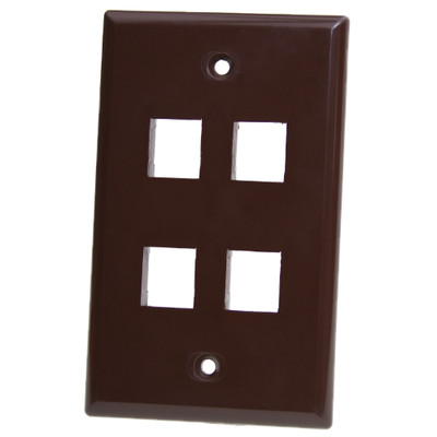 Keystone Wall Plate, Brown, 4 Port, Single Gang - Part Number: 3012-03204