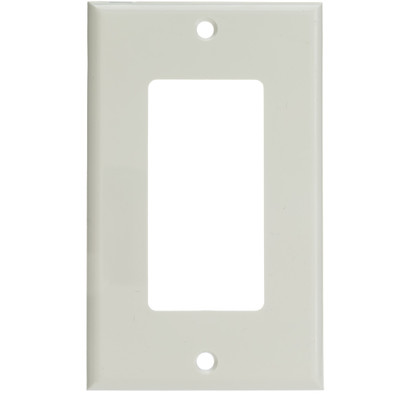 Decora Wall Plate, White, 1 Hole, Single Gang - Part Number: 302-1-W