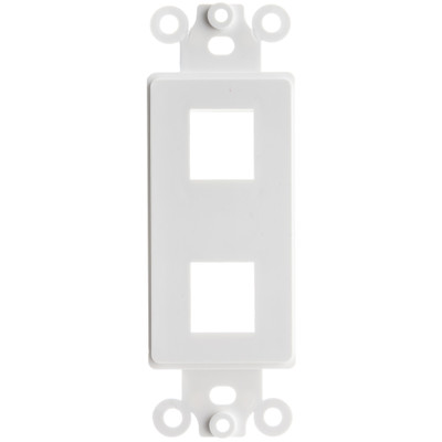 Decora Wall Plate Insert, White, 2 Hole for Keystone Jack - Part Number: 302-2D-W