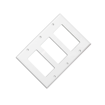 Wall Plate, White, Blank Decora, Triple Gang - Part Number: 302-3-W