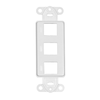 Decora Wall Plate Insert, White, 3 Hole for Keystone Jack - Part Number: 302-3D-W
