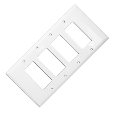 Wall Plate, White, Blank Decora, Four Gang - Part Number: 302-4-W