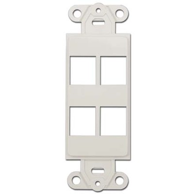 Decora Wall Plate Insert, White, 4 Keystone Jack - Part Number: 302-4D-W