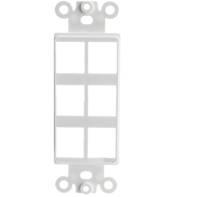 Decora Wall Plate Insert, White, 6 Hole for Keystone Jack - Part Number: 302-6D-W