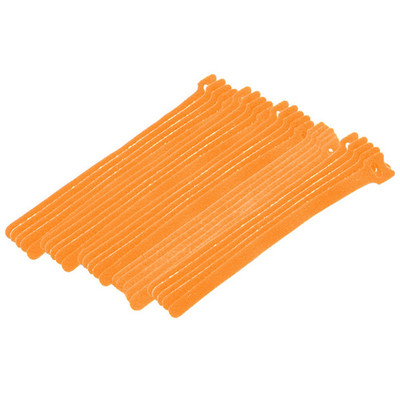 Orange Hook and Loop Cable Strap w/ Eye, 0.50 inch x 8 inch, 25 Pack - Part Number: 30CT-03180