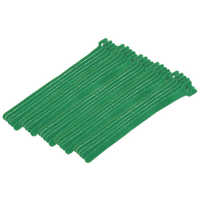 Green Hook and Loop Cable Strap w/ Eye, 0.50 inch x 8 inch, 25 Pack - Part Number: 30CT-05180