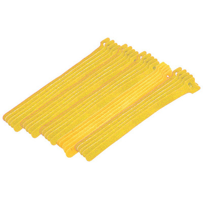 Yellow Hook and Loop Cable Strap w/ Eye, 0.50 inch x 8 inch, 25 Pack - Part Number: 30CT-08180