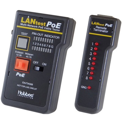 Lan Tester PoE Network Cable tester, Pin Configuration/Wire Map Results - Part Number: 30D1-56651
