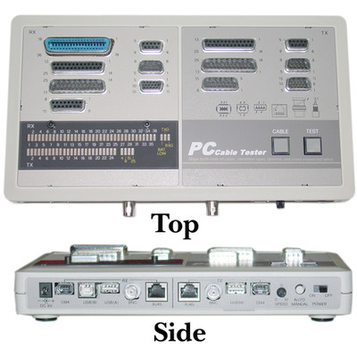 PC Cable Tester, Tests: BNC, DB15, DB9, DB25, RJ45, USB and IEEE-1394 - Part Number: 30D1-58991