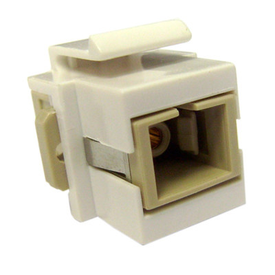 Keystone, White, SC Fiber Optic Network Coupler - Part Number: 30SC-SC400