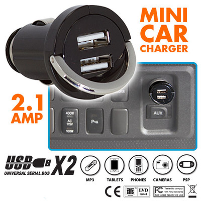 Tiny 2 Port USB Car Charger, Black, 2.1 Amp Output Powers Tablets, Cellphones, MP3 Players and More - Part Number: 30W1-31100