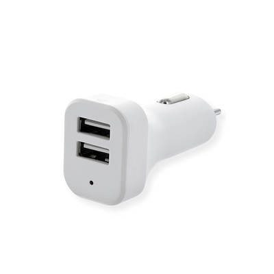 2 Port USB Car Charger, 2.1 Amp + 1 Amp, White - Part Number: 30W1-313WH