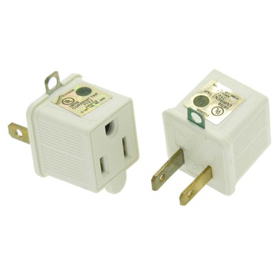 3 Prong to 2 Prong Grounding Converter for AC Outlet, 2-pack - Part Number: 30W1-32000