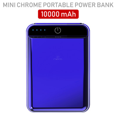 2 port Power bank 10000 mAh USB Battery Backup, includes Micro USB cable, Blue. - Part Number: 30W1-610BL