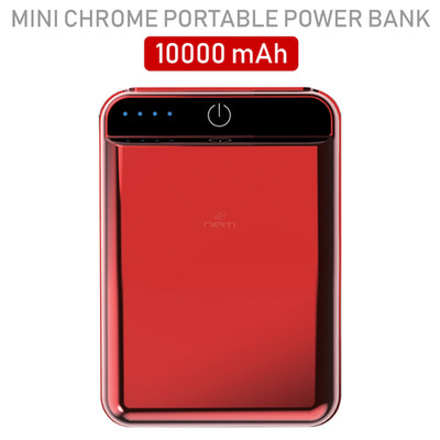 2 port Power bank 10000 mAh USB Battery Backup, includes Micro USB cable, Red. - Part Number: 30W1-610RD