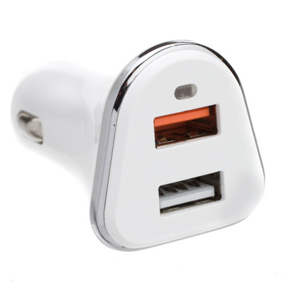 2 Port USB Car Charger, 2 x USB A, 5V 3A, Cigarette Lighter Plug, features Quick Charge v3.0 - Part Number: 30W1-70200