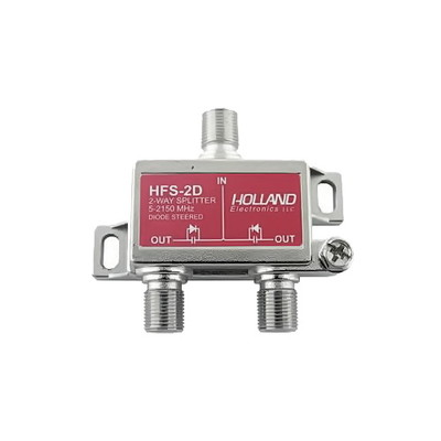 2 Ghz Coaxial Cable Splitter, High Frequency Satellite/Broadband Splitter, 1 x F-Pin female input & 2 x F-Pin female output, DC passing on all output ports. - Part Number: 30X3-10002