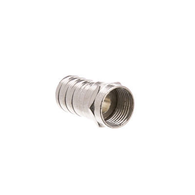 RG6 F-pin Coaxial Crimp On Connector with Long (1/2 inch) Barrel - Part Number: 30X4-01200
