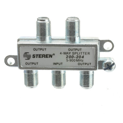 F-Pin Coaxial Splitter, 4 Way, 5-900 MHz, UHF-VHF-FM, OTA/Broadcast tv/Antenna - Part Number: 30X4-03204
