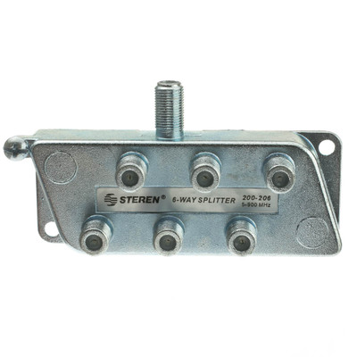 F-pin Coaxial Splitter, 6 Way, 5-900 MHz, UHF-VHF-FM, OTA/Broadcast tv/Antenna - Part Number: 30X4-03206