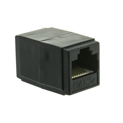 Cat5e Coupler, Black, RJ45 Female, Unshielded - Part Number: 30X6-02400BK