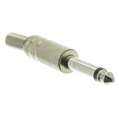 1/4 inch Male Mono Connector, Solder Type, Metal - Part Number: 30XR-20100