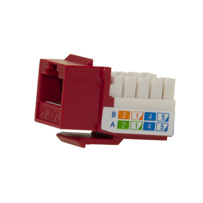 Cat5e Keystone Jack, Red, RJ45 Female to 110 Punch Down - Part Number: 310-120RD