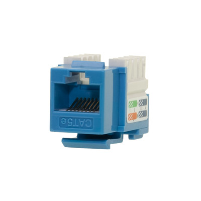 Cat5e Keystone Jack, Blue, RJ45 Female to 110 Punch Down - Part Number: 310-121BL