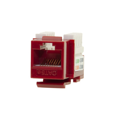 Cat5e Keystone Jack, Red, RJ45 Female to 110 Punch Down - Part Number: 310-121RD