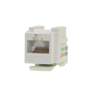 Cat5e Keystone Jack, White, RJ45 Female to 110 Punch Down - Part Number: 310-121WH
