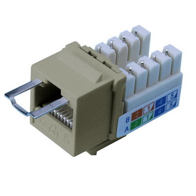 Locking Cat5e Keystone Jack, Gray, RJ45 Female to 110 Punch Down, Key Sold Separately - Part Number: 3100-22100