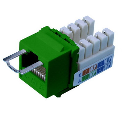 Locking Cat5e Keystone Jack, Green, RJ45 Female to 110 Punch Down, Key Sold Separately - Part Number: 3100-25100