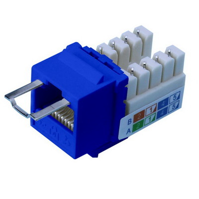 Locking Cat5e Keystone Jack, Blue, RJ45 Female to 110 Punch Down, Key Sold Separately - Part Number: 3100-26100