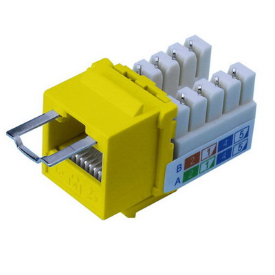 Locking Cat5e Keystone Jack, Yellow, RJ45 Female to 110 Punch Down, Key Sold Separately - Part Number: 3100-28100