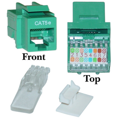 Cat5e Keystone Jack, Green, Toolless, RJ45 Female - Part Number: 311-120GR