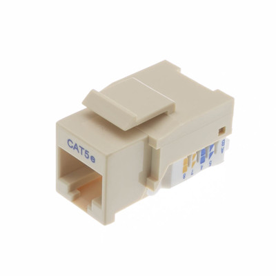 Cat5e Keystone Jack, Beige/Ivory, Toolless, RJ45 Female - Part Number: 311-120IV