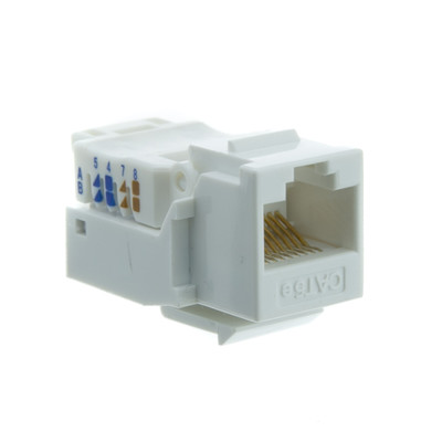 Cat5e Keystone Jack, White, Toolless, RJ45 Female - Part Number: 311-120WH