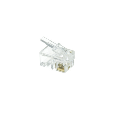 Phone / Data RJ22 Crimp Connectors for Flat Cable, 4P4C, 100 Pieces - Part Number: 31D0-440HD