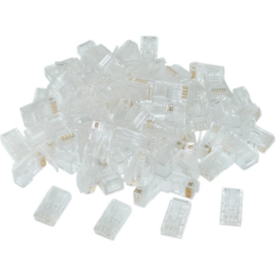 Cat5e RJ45 Crimp Connectors for Solid and Stranded Cable, 8P8C, 100 Pieces - Part Number: 31D0-510HD