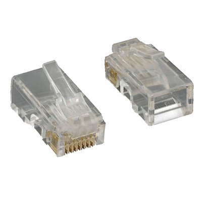 Cat5e RJ45 Crimp Connectors for Solid and stranded Cable, 8P8C, 100 Pieces - Part Number: 31D0-511HD