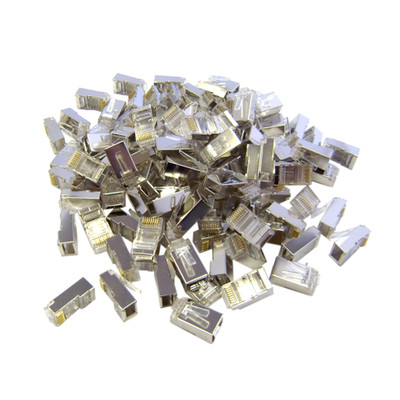 Shielded Cat6 RJ45 Crimp Connectors for Stranded Cable, 8P8C, 100 Pieces - Part Number: 31D0-584HD
