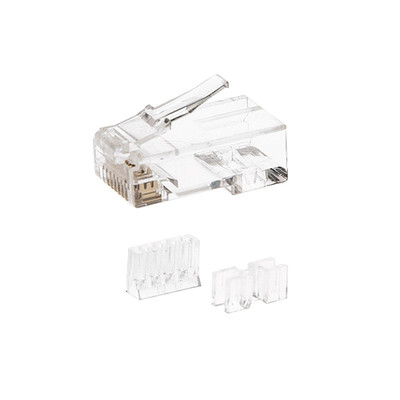 Cat6a RJ45 Crimp Connectors for Stranded Cable with wire insert guide and spacer bar ( 100 Connectors / Bag ) - Part Number: 31D0-610HD
